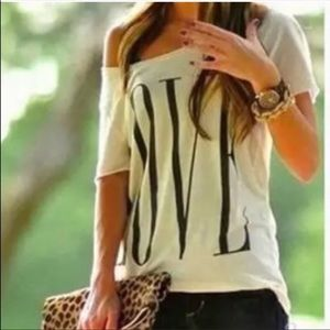 """Tops - Cute Graphic """"love"""" Off-the-Shoulder Top"""